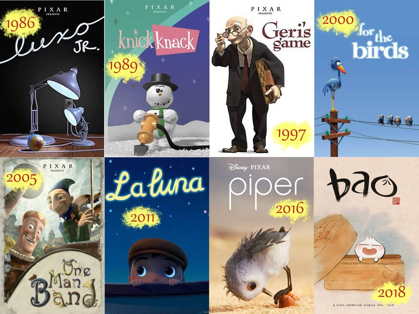 Raccolta di otto poster di alcuni corti Pixar con relativa data di uscita.