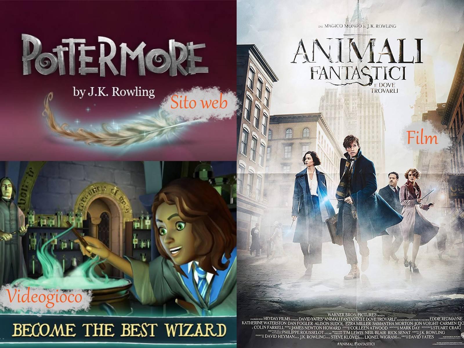 """Pottermore, videogioco e """"Animali fantastici e dove trovarli"""". Prodotti ispirati al mondo di Harry Potter."""