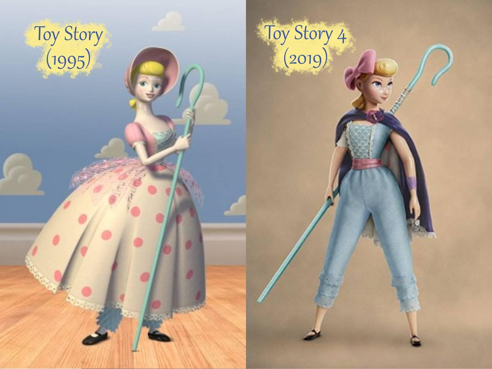 Confronto tra Bo Peep del primo film e nel nuovo Toy Story 4.