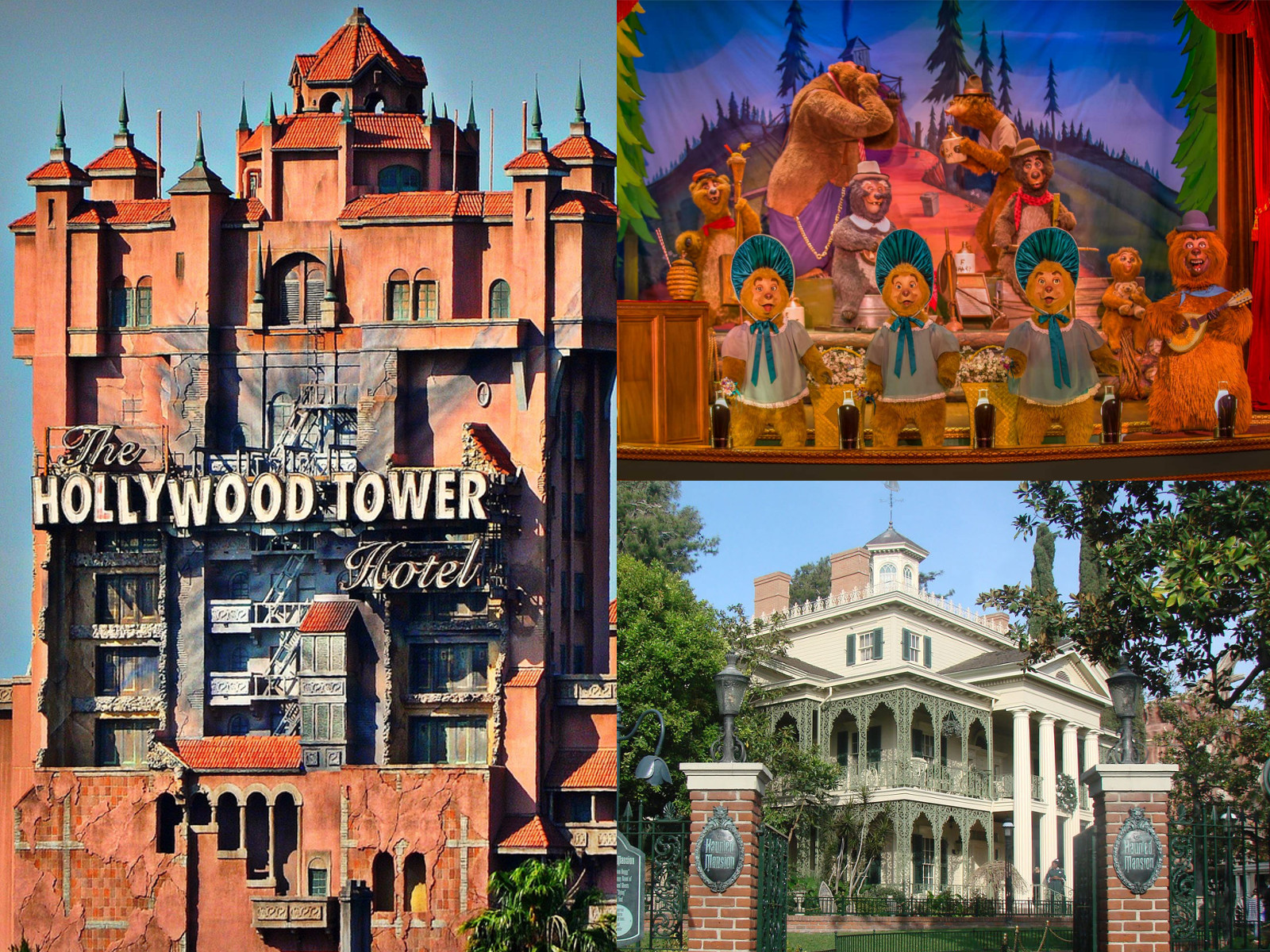 Tower of terror, Country bears jamboree e Haunted Mansion