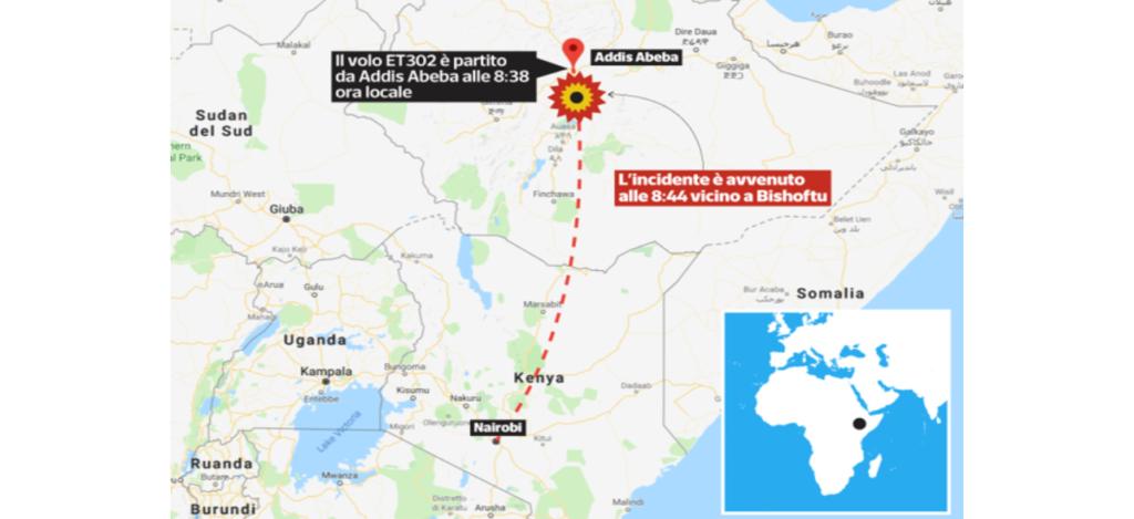 """""""La mappa che segnala il luogo dello schianto – Photo Credit: www.corriere.it""""  boeing"""