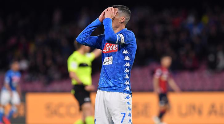 Callejon sciupone in Napoli-Genoa 1-1 . Fonte: Tuttosport