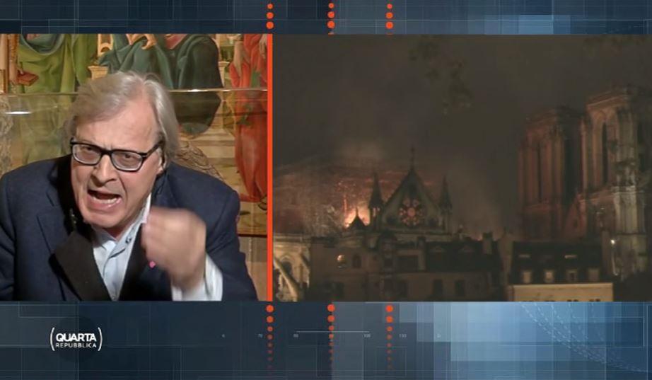 """""""Vittorio Sgarbi a Quarta Repubblica – Photo Credits: www.zazoom.it""""  Notre-Dame"""