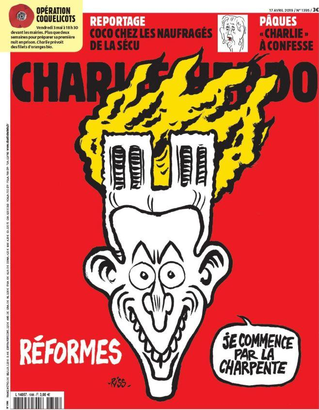 """La copertina di Charlie Hebdo – Photo Credits: www.tgcom24.mediaset.it""  Notre-Dame"