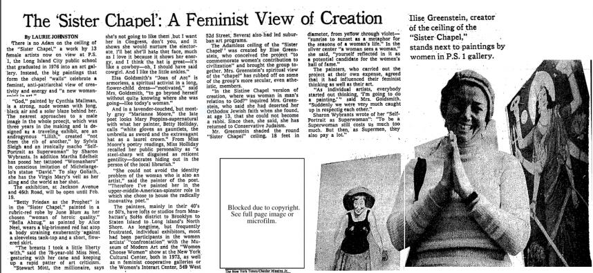 Articolo di Laurie Johnston sul New York Times del 1978 per la prima esposizione della Sister Chapel al MoMa PS1, sulla destra una foto Ilise Greenstein con l'opera Durga di Diana Kurz. (immagine dal web) La Sister Chapel ovvero gli anni 70, Dio e le donne