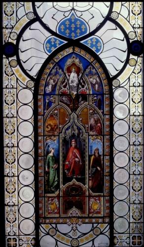 G. e P. Bertini, Il trionfo di Dante, 1851, vetro dipinto, Milano, Museo Poldi Pezzoli, Gabinetto Dantesco. (immagine dal web) Poldi Pezzoli: un romantico a Milano