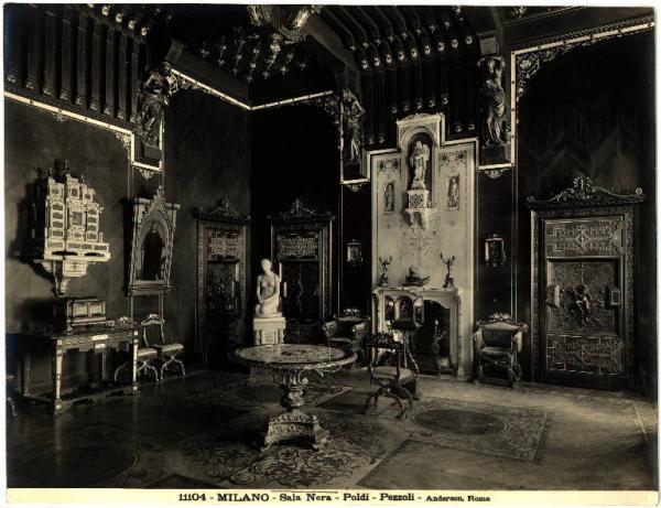 Foto d'epoca dell'allestimento della Sala nera del Museo Poldi Pezzoli, Milano. (foto dal web) Poldi Pezzoli: un romantico a Milano