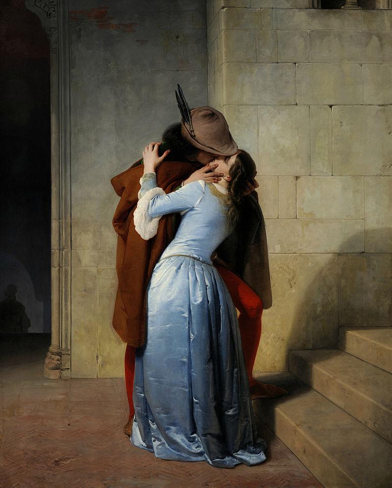 F. Hayez, Il bacio. Episodio della giovinezza. Costumi del secolo XIV, 1859, Pinacoteca di Brera, Milano. (immagine dal web) Poldi Pezzoli: un romantico a Milano