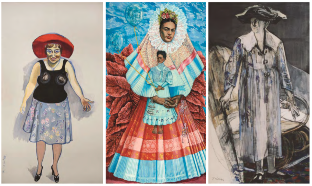 Da sinistra: Alice Neel, Bella Abzug—the Candidate, 1976, Oil on canvas, 108 × 60 in., Rowan University Art Gallery, Anonymous gift, 2010. Shirley Gorelick, Frida Kahlo, 1976, Acrylic on canvas, 1081⁄8 × 60 in.Rowan University Art Gallery, Gift of Jamie S. Gorelick, 2011. Betty Holliday, Marianne Moore, 1977, Acrylic, charcoal, and collage on canvas, 108 × 60 in., Collection of Anne and Vincent Mai. (immagine dl web)