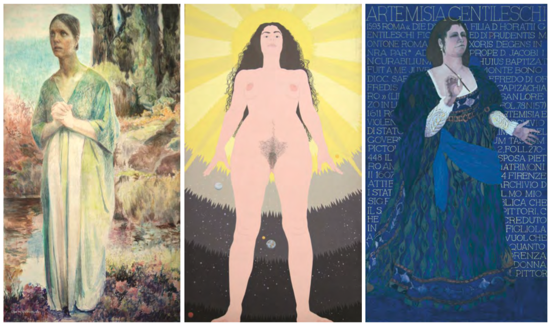 Da sinistra: Elsa M. Goldsmith, Joan of Arc, 1976, Oil on canvas, 108 × 60 in. Rowan University Art Gallery, Gift of Jo Ann Goldsmith and Cris Goldsmith. Cynthia Mailman, God, 1977, Acrylic on canvas, 108 × 60 in. Rowan University Art Gallery, Gift of Cynthia Mailman and Silver Sullivan, 2013. May Stevens, Artemisia Gentileschi, 1976, Acrylic on canvas, 108 × 60 in., Collection of the artist, Courtesy of RYAN LEE Gallery, New York. (immagine dal web)