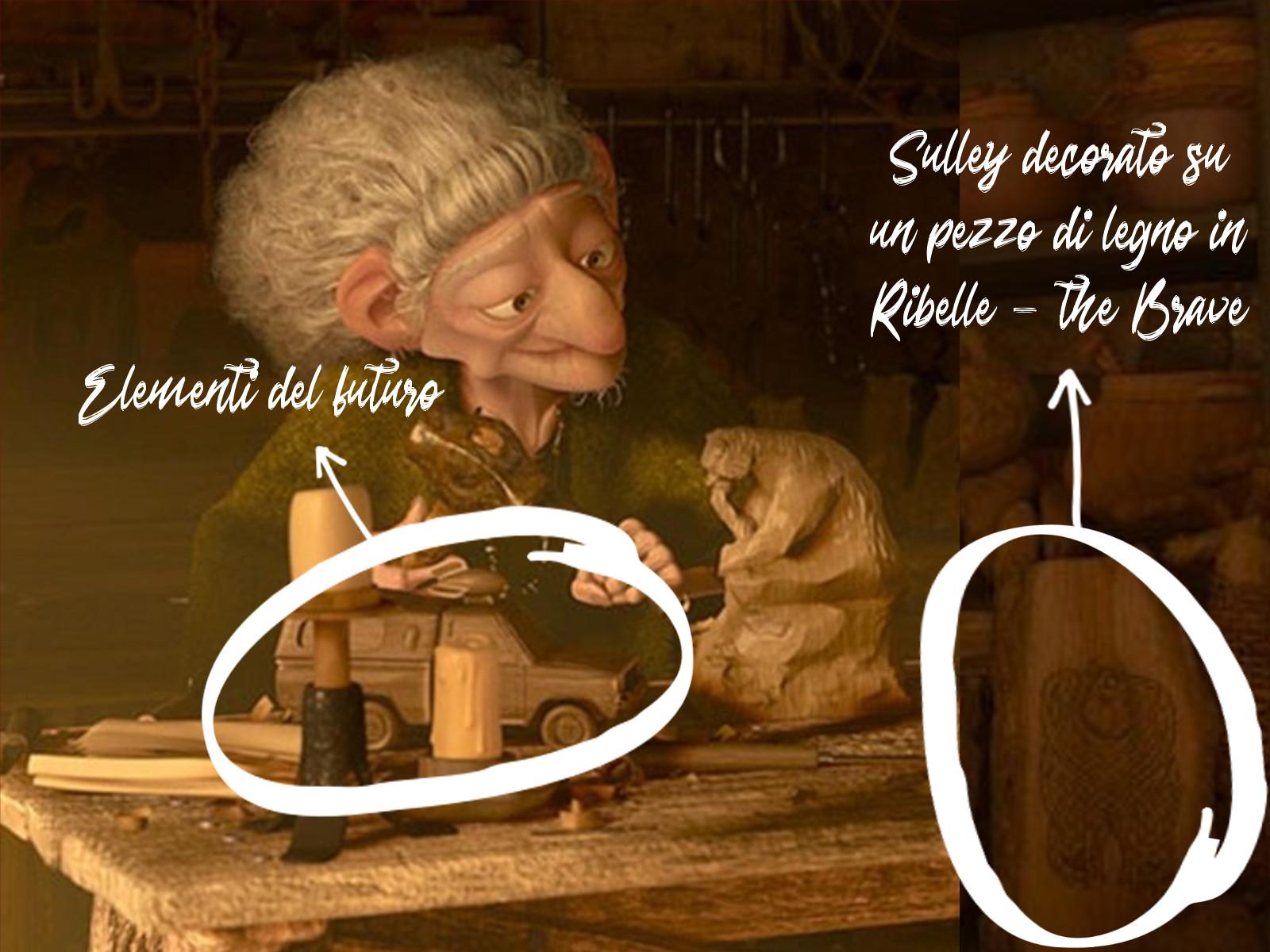 Secondo la teoria Pixar Boo è la strega di Ribelle per gli elementi del futuro presenti nella bottega e per l'intaglio di Sulley.
