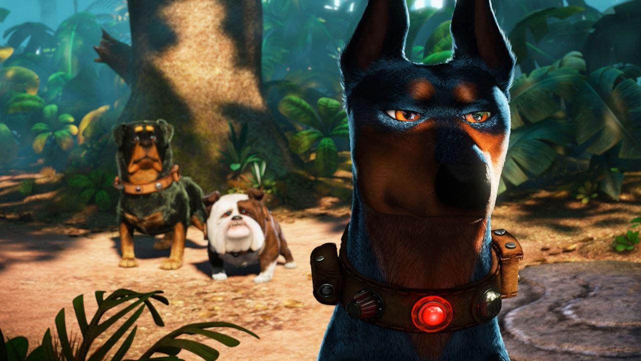"""Alcuni cani del film """"Up"""" con i collari speciali."""