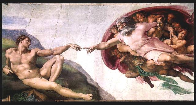 Michelangelo Buonarroti, La Creazione di Adamo, 1508 - 1512 circa, Affresco, 2,8 m x 5,7 m, volta della Cappella Sistina, Musei Vaticani, Città del Vaticano. (immagine dal web)