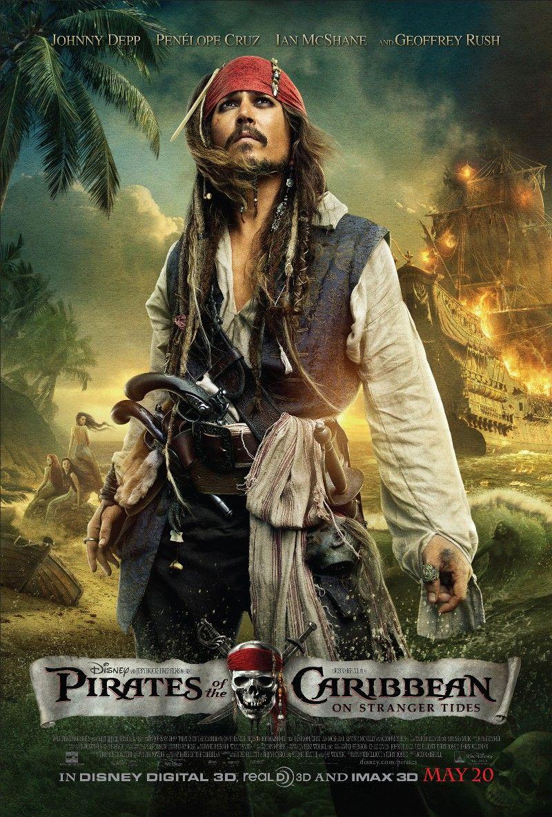 Il pirata Jack Sparrow come protagonista del poster del quarto film.
