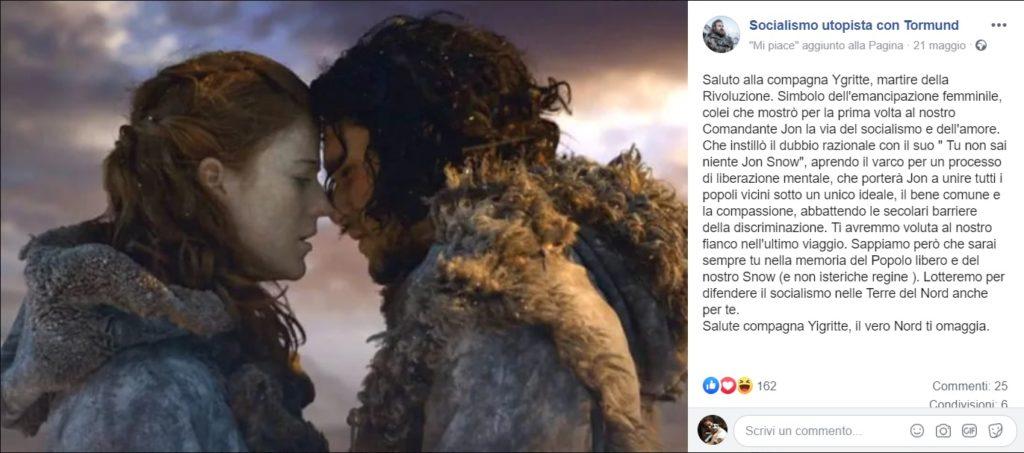 Un caso dell'uso del fantasy, in questo caso Game of Thrones, come retorica politica ironica (credits: Socialismo utopista con Tormund)