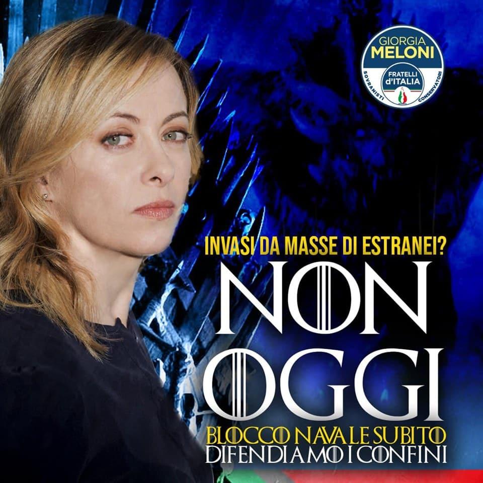 Propaganda politica di Giorgia Meloni ispirata a Game of Thrones. Un chiaro esempio della strumentalizzazione del fantasy da parte della politica