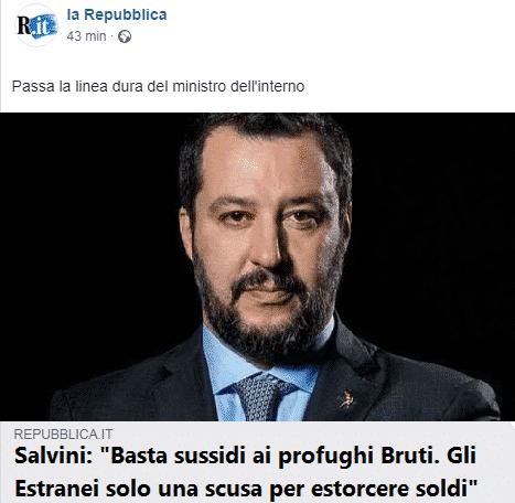 E come poteva mancare Salvini, contro i Bruti e contro la fake news degli estranei? Un esempio superbo di fantasy e politica