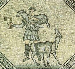 Antico pastore con flauto di Pan