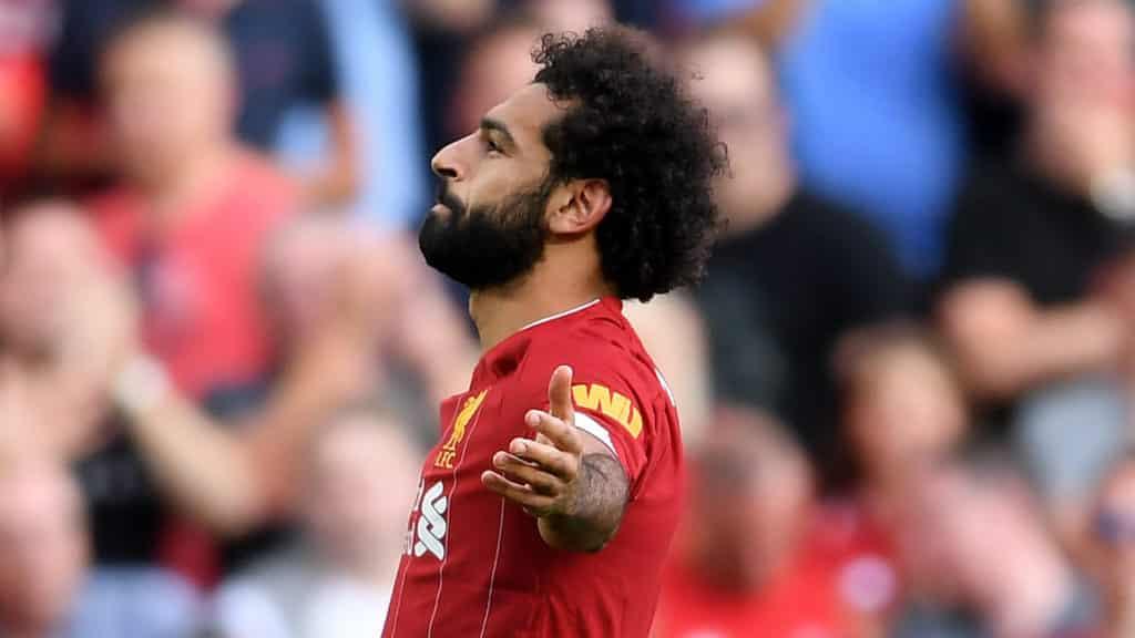 L'esultanza di Salah dopo il rigore trasformato per il momentaneo 2 a 0 Premier League
