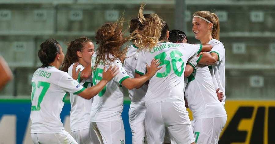 La gioia delle giocatrici del Sassuolo nella vittoria per 3-1 sul campo della Fiorentina - Photo Credits: lfootball.it