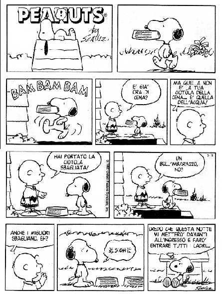 Striscia fumetto dei Peanuts - Photo Credits: Lacittàimmaginaria.com