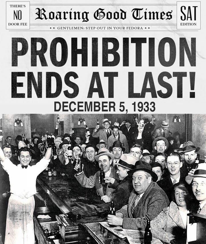Fine del Proibizionismo in America. Photo credits: web.