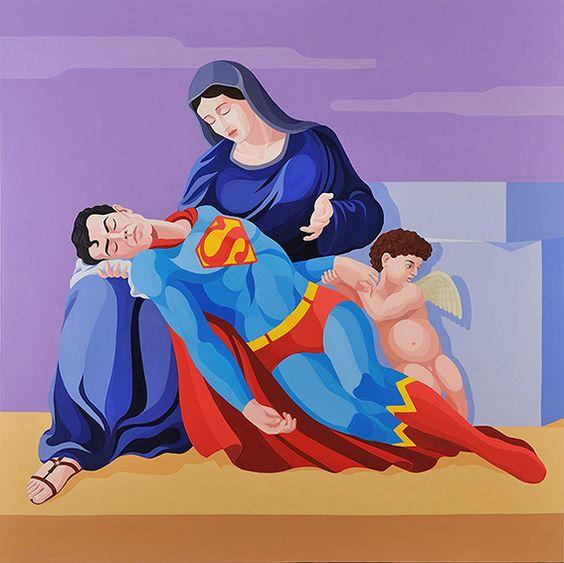 Giuseppe Veneziano, La pietà di Superman - Photo Credits: arteworld.it