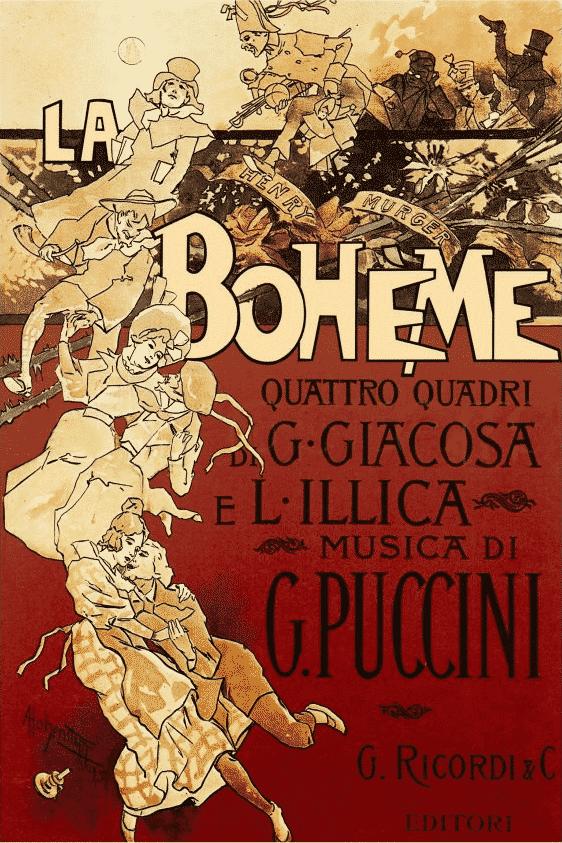 La Boheme, la locandina originale di Adolf Hohenstein, 1896 - photo credits Wikipedia