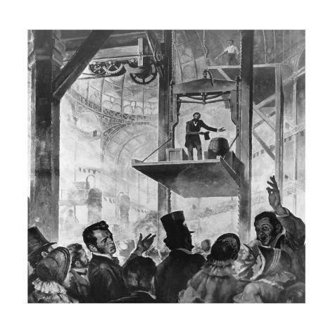 Elisha Otis ascensore 1857- Credits Pinterest
