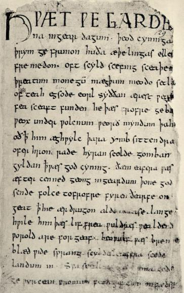 Il Cotton Vitellius, il primo manoscritto in cui troviamo il poema di Beowulf. Conservato alla British Library. Photo credit- Leganerd