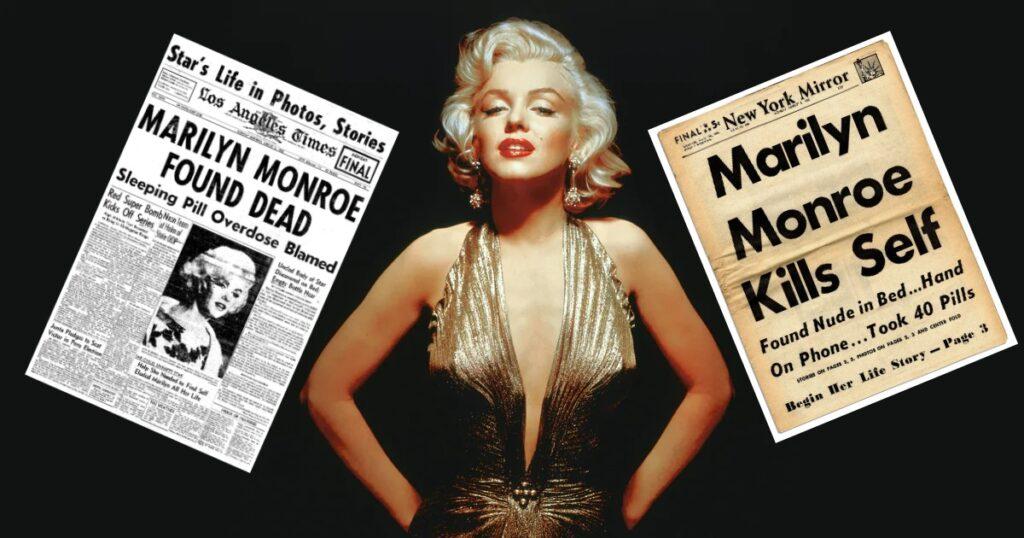 Marilyn e due giornali dell'epoca che riportano la notizia della sua morte-photo credit: dal web