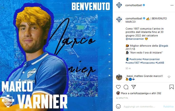 Como Calciomercato, Marco Varnier in prestito dall'Atalanta