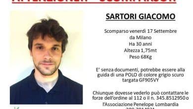 Milano, scomparso Giacomo Sartori da cinque giorni dopo il furto di uno zaino