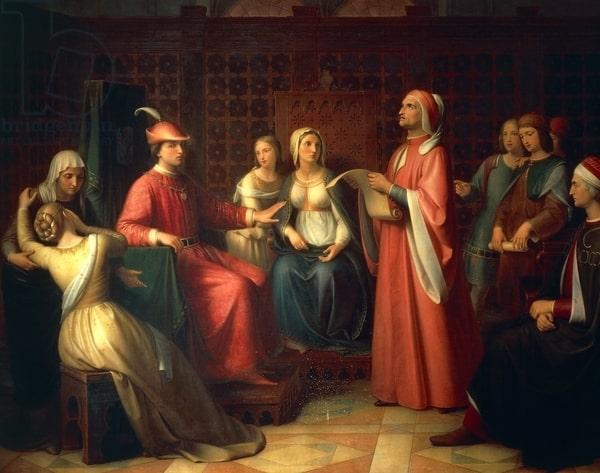 Andrea Pierini, Dante legge la Divina Commedia alla corte di Guido Novello, 1850, dipinto a olio, Palazzo Pitti-Galleria D'Arte Moderna, Firenze
